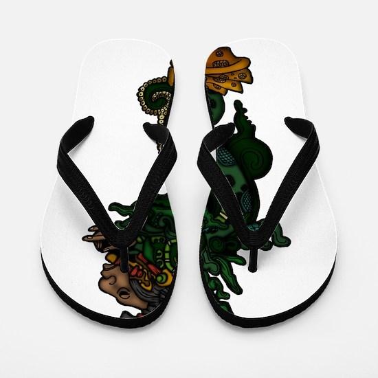 Mayan Serpent God Flip Flops