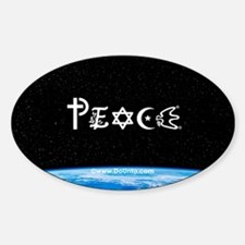Peace on Earth at Night Oval Decal