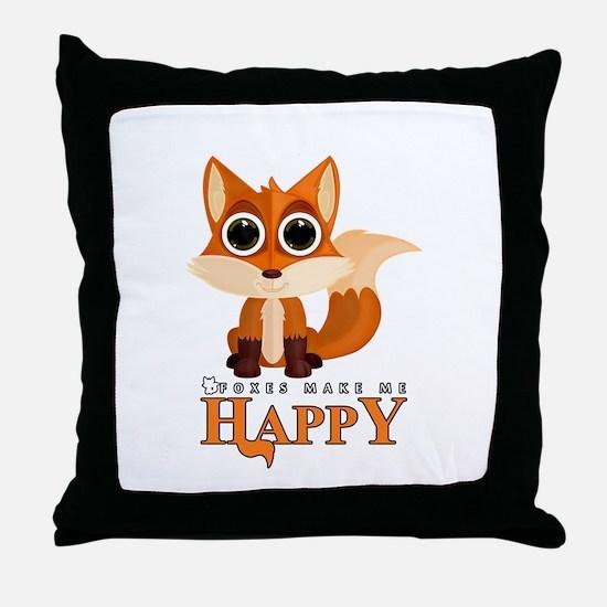 Foxes Make Me Happy Throw Pillow