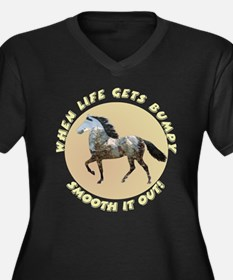 Mtn Horse Smooth Women's Plus Size V-Neck Dark T-S