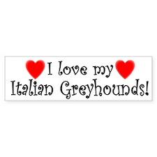 I Love My Italian Greyhounds Bumper Car Sticker