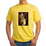 Ophelia /2 Poodles(b&w) Yellow T-Shirt