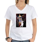 Ophelia /2 Poodles(b&w) Women's V-Neck T-Shirt