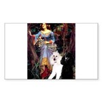 Ophelia /2 Poodles(b&w) Sticker (Rectangle)