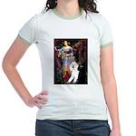 Ophelia /2 Poodles(b&w) Jr. Ringer T-Shirt
