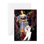 Ophelia /2 Poodles(b&w) Greeting Cards (Pk of 10)
