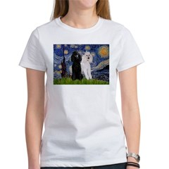 Starry Night / 2 Poodles(b&w) Women's T-Shirt