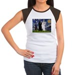 Starry Night / 2 Poodles(b&w) Women's Cap Sleeve T