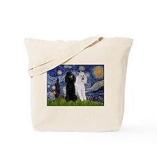 Starry Night / 2 Poodles(b&w) Tote Bag