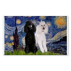 Starry Night / 2 Poodles(b&w) Sticker (Rectangle)