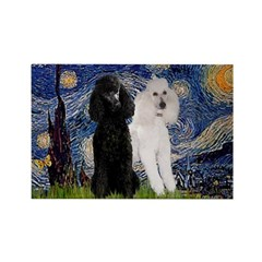 Starry Night / 2 Poodles(b&w) Rectangle Magnet