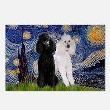 Starry Night / 2 Poodles(b&w) Postcards (Package o