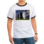 Starry Night / 2 Poodles(b&w) Ringer T