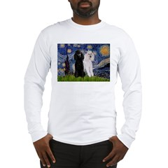Starry Night / 2 Poodles(b&w) Long Sleeve T-Shirt