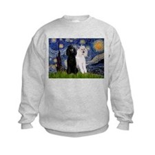 Starry Night / 2 Poodles(b&w) Sweatshirt