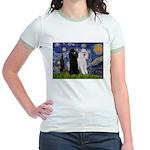 Starry Night / 2 Poodles(b&w) Jr. Ringer T-Shirt