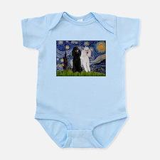 Starry Night / 2 Poodles(b&w) Infant Bodysuit