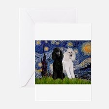 Starry Night / 2 Poodles(b&w) Greeting Cards (Pk o