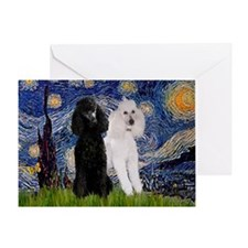 Starry Night / 2 Poodles(b&w) Greeting Card