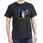 Starry Night / 2 Poodles(b&w) Dark T-Shirt