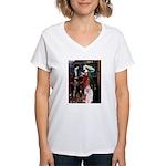 Tristan / 2 Poodles(b&w) Women's V-Neck T-Shirt