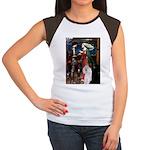 Tristan / 2 Poodles(b&w) Women's Cap Sleeve T-Shir