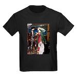 Tristan / 2 Poodles(b&w) Kids Dark T-Shirt