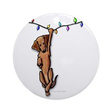 Dangling Doxie III Ornament (Round)