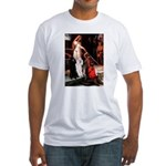 Accolade / 2 Poodles(b&w) Fitted T-Shirt