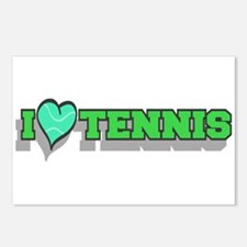 I Love Tennis Green Postcards (Package of 8)