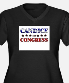 CANDICE for congress Women's Plus Size V-Neck Dark