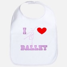 I Heart Ballet Dancer Pink Bib