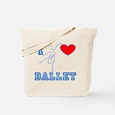 I Heart Ballet Dancer Blue Tote Bag