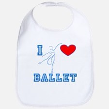 I Heart Ballet Dancer Blue Bib
