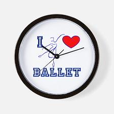 I Heart Ballet Dancer Navy Wall Clock