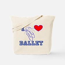 I Heart Ballet Shoes Blue Tote Bag