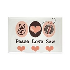 Peace Love Sew Sewing Rectangle Magnet