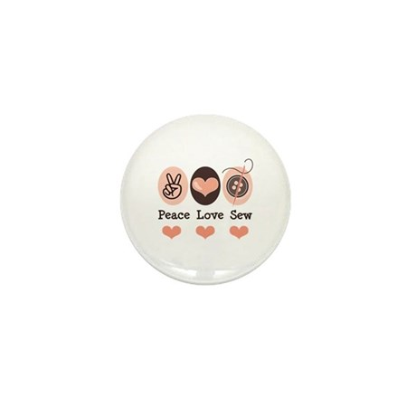 Peace Love Sew Sewing Mini Button