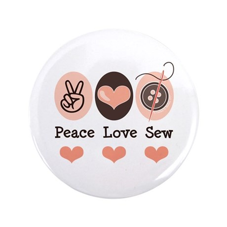 "Peace Love Sew Sewing 3.5"" Button (100 pack)"