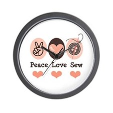 Peace Love Sew Sewing Wall Clock