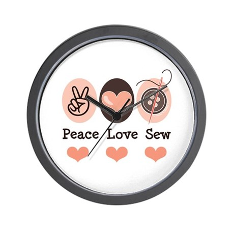 Peace Love Sew Sewing Wall Clock