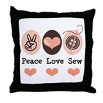Peace Love Sew Sewing Throw Pillow