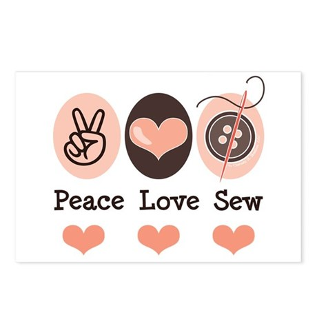 Peace Love Sew Sewing Postcards (Package of 8)
