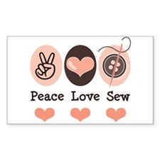 Peace Love Sew Sewing Rectangle Decal