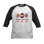 Peace Love Sew Sewing Kids Baseball Jersey