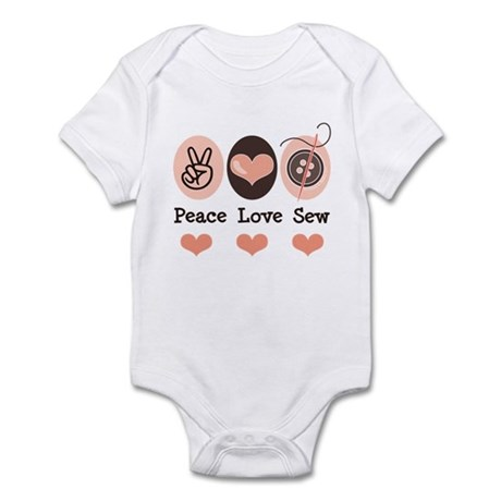 Peace Love Sew Sewing Infant Bodysuit
