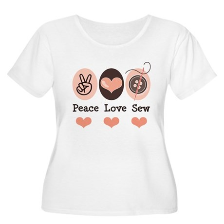 Peace Love Sew Sewing Women's Plus Size Scoop Neck