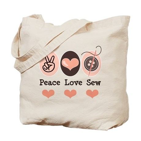 Peace Love Sew Sewing Tote Bag