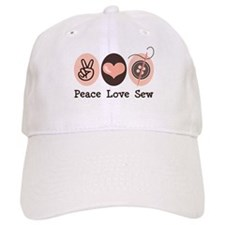 Peace Love Sew Sewing Baseball Cap