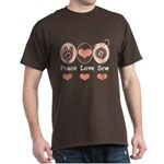 Peace Love Sew Sewing Dark T-Shirt